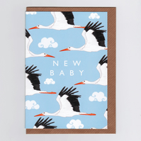 New Baby Card - Stork (blue)