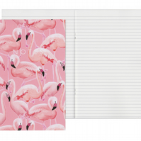 Lined Pages A5 Notebook - Pink Flamingos