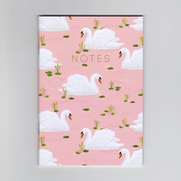 A6 Mini Notebook - Pink Swan