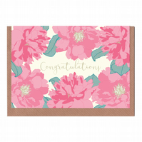 Congratulations, Peony, Illustrated Greetings Card