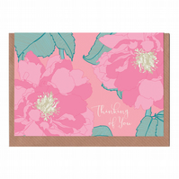 Thinking of You, Peony, Illustrated Greetings Card