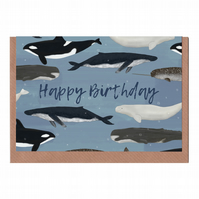 Happy Birthday Whales, Illustrated Greetings Card