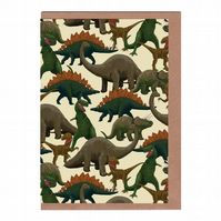 Dinosaurs, Illustrated Greetings Card