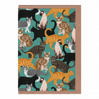 Cats, Illustrated Greetings Card