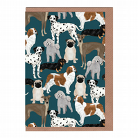 Dogs, Illustrated Greetings Card