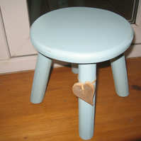 Blue shabby chic milking stool