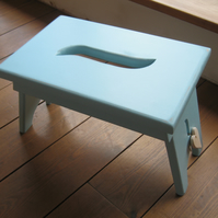 Shabby chic light blue wooden shaker style stool