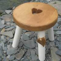 Pine topped heart wooden milking stool