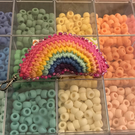 Beaded rainbow keyring pink variation