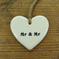Mr and Mr Heart Shaped Ceramic Wedding Favour, Gift Tag, Table Decoration