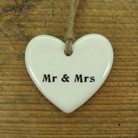 Mr and Mrs Heart Shaped Ceramic Wedding Favour, Gift Tag, Table Decoration