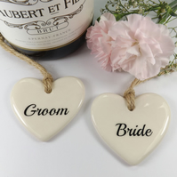 Set of 8 Heart Shaped Ceramic Wedding Favours