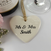 20 x Personalised Heart Shaped Ceramic Wedding Favour, Table Decoration