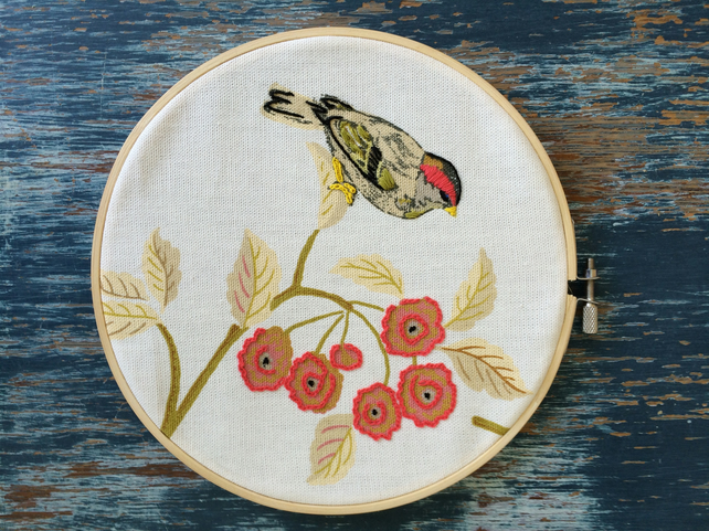 Embroidered vintage fabric hoop