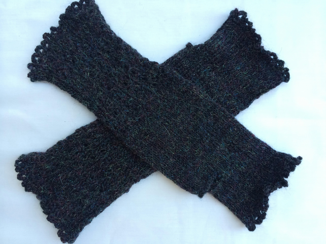 Long, lacy, black with rainbow sparkle, fingerless gloves