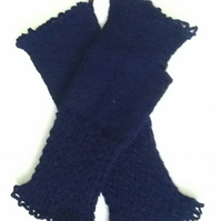 Hand knitted, lacy, navy blue fingerless gloves