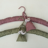 Pair of pretty padded hangers with lavender sachets