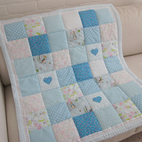 Handmade Patchwork Cot Quilt - Play Mat with Beatrix Potter Fabric