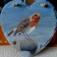 ROBIN - Hand Painted Heart Shaped Slate Wall Plaque. Painted to order