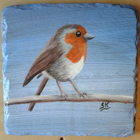 "ROBIN - Hand Painted Slate Coaster 4"" x 4"". Painted to order"