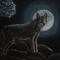 "WOLF MOON - Original Acrylic Painting on Canvas - 12"" x 10"""