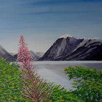 "Ennerdale Water Pink Flower 2 - Original Acrylic Painting on Canvas 20"" x 16"""