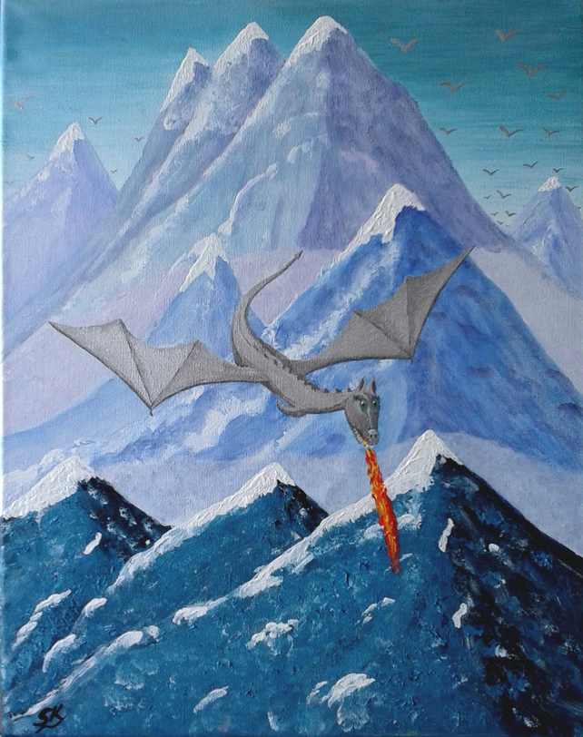 "SILVER DRAGON FANTASY - Original Acrylic Painting on Canvas 20"" x 16"""