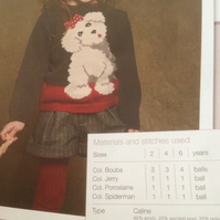 Girls Doggy Sweater - Jumper Knitting Pattern