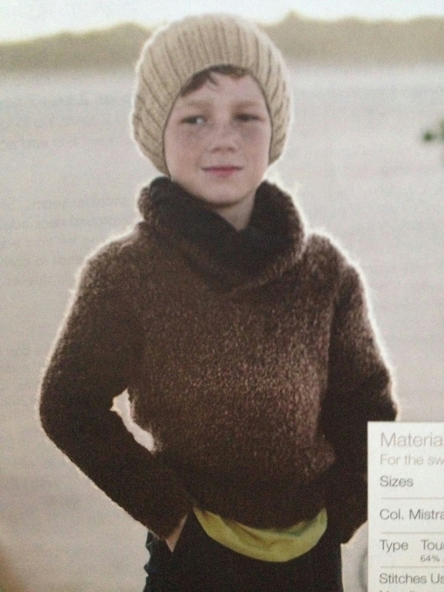 Boys Shawl Collar Sweater And Hat Knitting Pattern Folksy