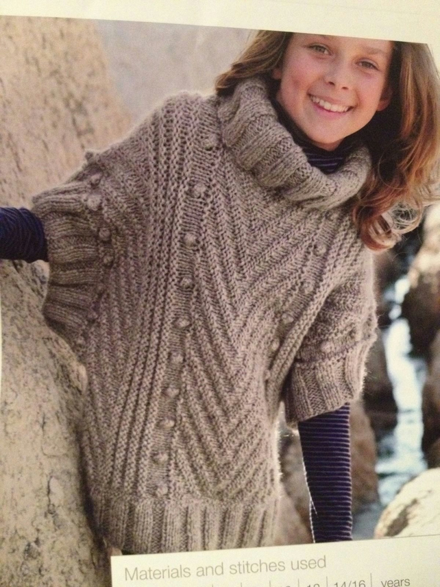 Poncho Jacket Knitting Pattern : Girls Knitted Poncho Sweater Knitting Pattern - Folksy