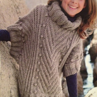 Girls Knitted Poncho Sweater Knitting Pattern