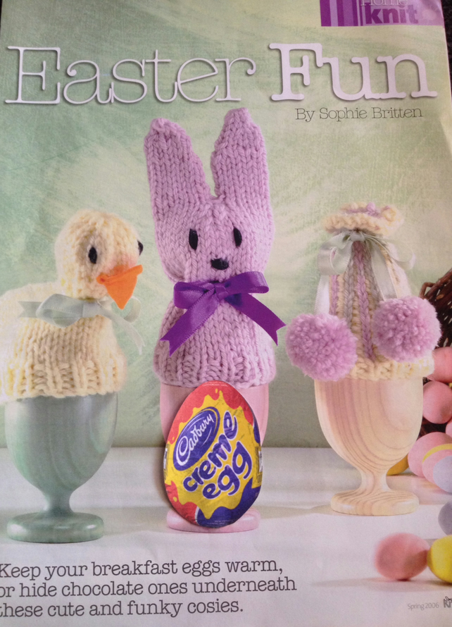 Hanging Easter Chick and Bunny Decoration cover Creme Egg KNITTING PATTERN