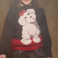 Girls Cute Doggy Motif Jumper Knitting Pattern