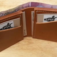 Leather Wallet, Hand-stitched, Cardholder, Bi-fold, Tan, Gift, 3rd Anniversary
