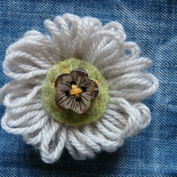 Cream Wool Flower Brooch