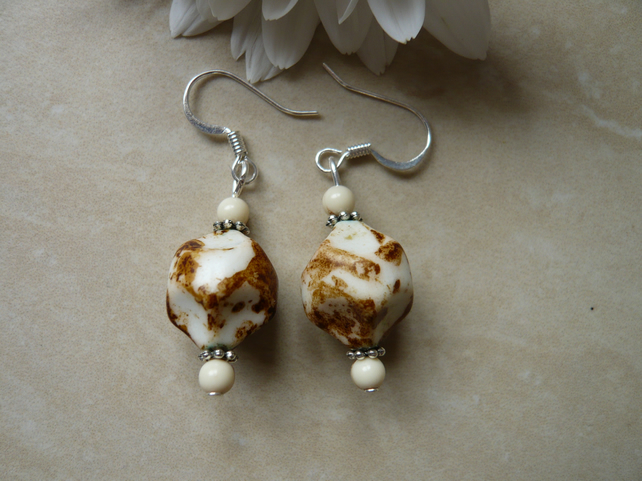 Cream and Brown Earrings