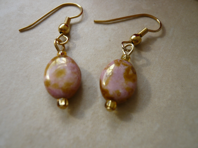 Pink and Gold Oval Bead Earrings