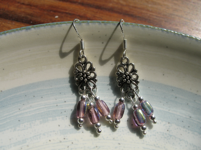 Lavender Trio  Bead Earrings
