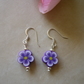 Purple Flower Polymer Clay Bead Earrings