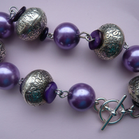 Purple Faux Pearl Bead and Tibetan Style Spacer Bead Bracelet