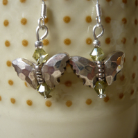 Tibetan Style Butterfly Earrings with tiny Green Beads