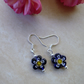 Blue Millefiori Flower Bead Earrings