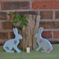 Painted Wooden Hares