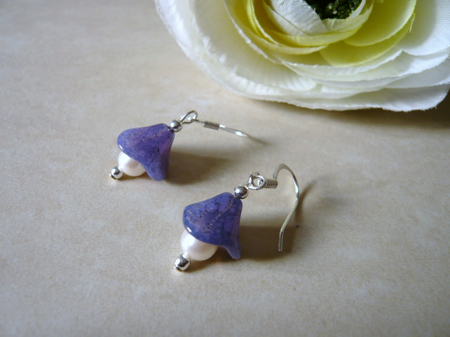 Purple Flower and Pearl Earrings