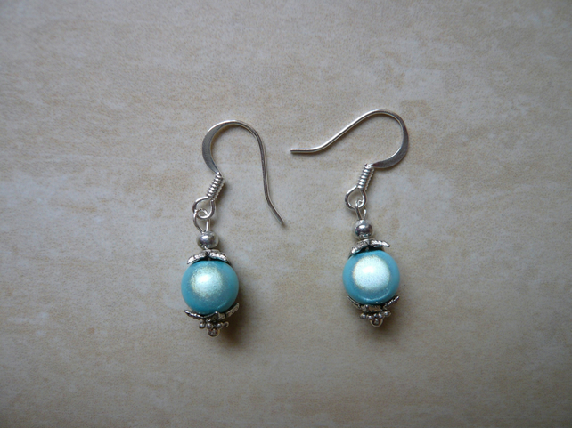 Blue Miracle Bead Earrings