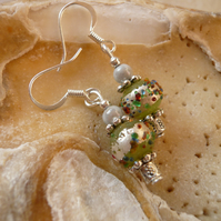 Green with Silver Foil Earrings