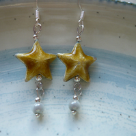 Gold Enamel Star With Silver Miracle Bead Earrings