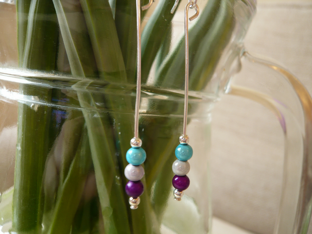 Three little Miracle Beads Dangle Earrings
