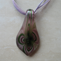 Purple and Green Swirl Glass Pendant (Cord not incl.)