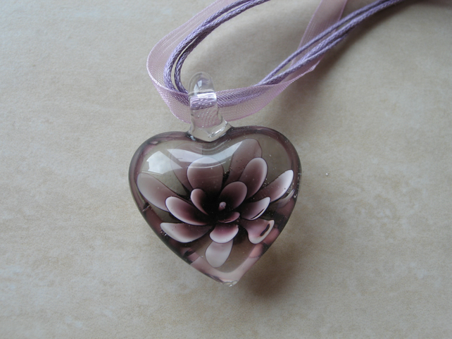 Purple Heart Glass Pendant (Heart Only)